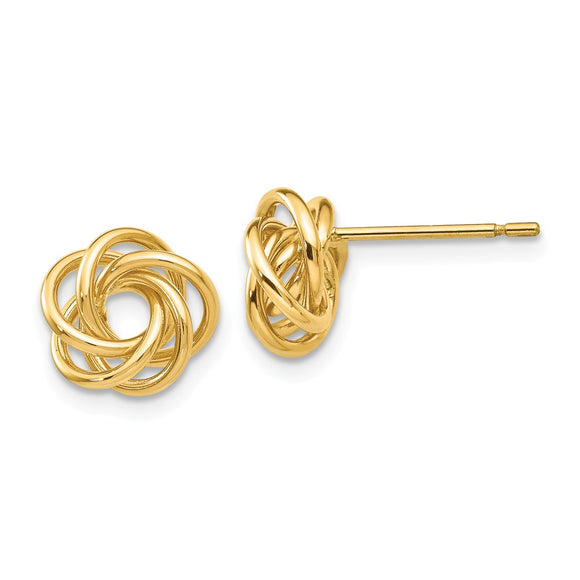 Million Charms 14k Yellow Gold Polished Knot Post Earrings, 8mm x 8mm