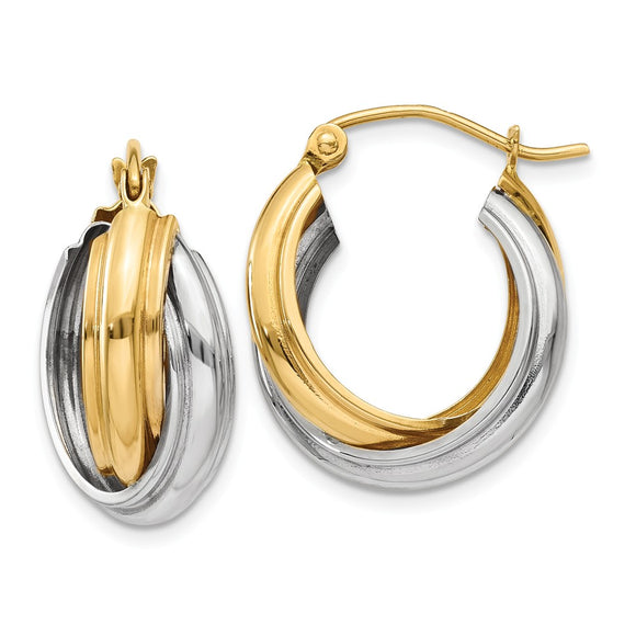 Million Charms 14k Two-tone Polished Double Hoop Earrings, 10mm x 8mm