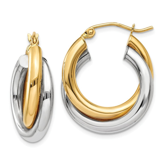Million Charms 14k Two-tone Polished Double Tube Hoop Earrings, 14mm x 7mm
