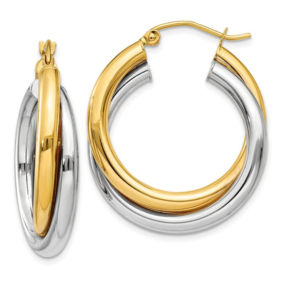Million Charms 14k Double Hoop Earrings, 17mm x 6mm