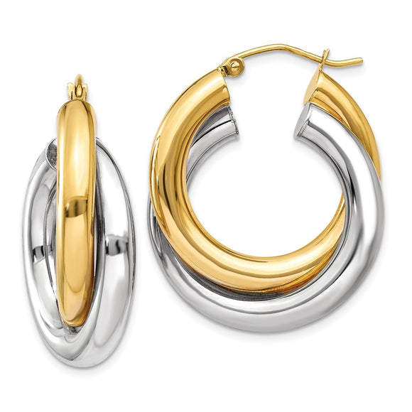 Million Charms 14k Two-tone Polished Double Tube Hoop Earrings, 28mm x 8mm