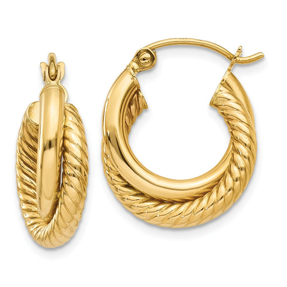 Million Charms 14k Yellow Gold Polished & Twisted Double Hoop Earrings, 12mm x 5mm