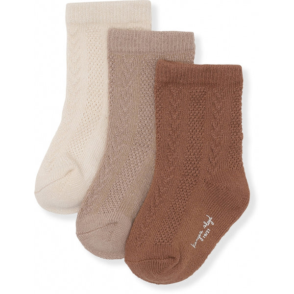 3 PACK POINTELLE SOCKS MOCCA, HAZEL, CREME