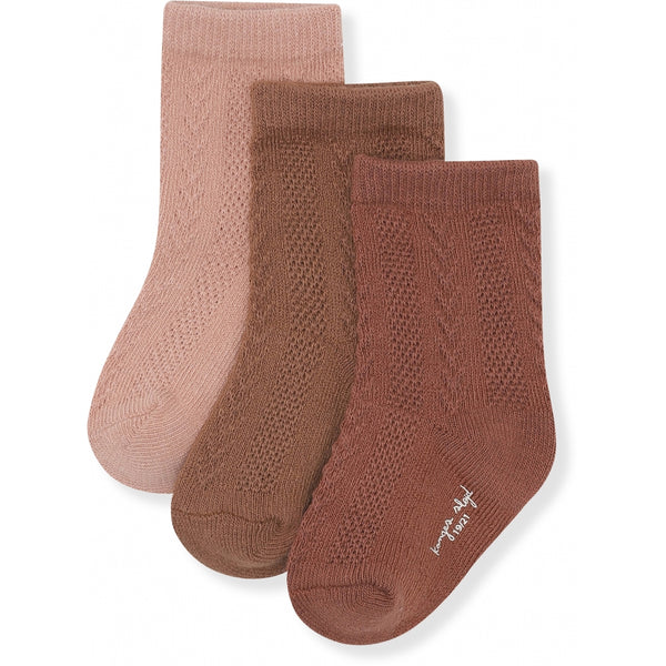 3 PACK POINTELLE SOCKS MOCCA, ROSE BLUSH, CHOCO BEAN
