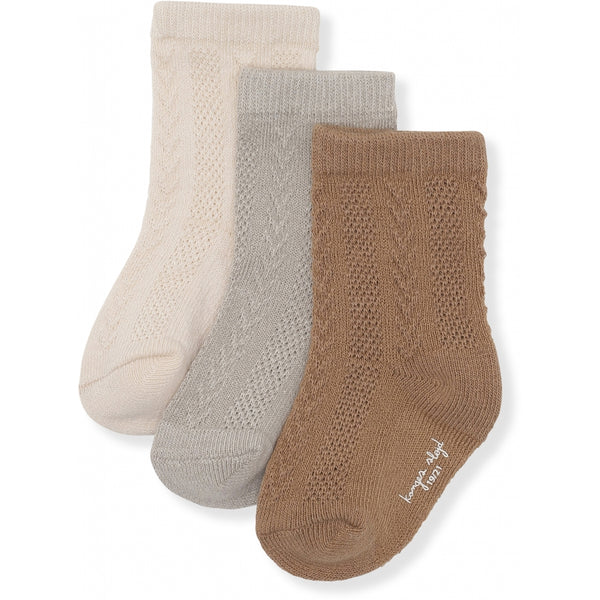 3 PACK POINTELLE SOCKS ALMOND, PALOMA GREY, CREME