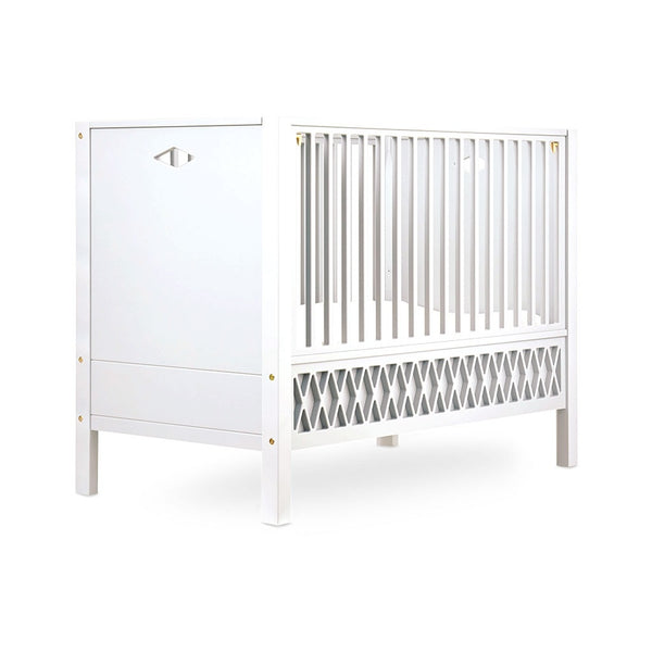 HARLEQUIN BABY BED CLOSED ENDS 70X140CM WHITE