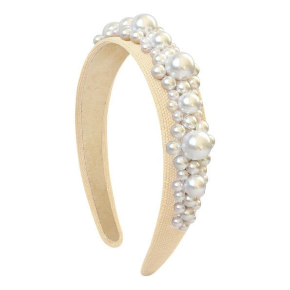 MILLEDEUX® PEARL HAIRBAND STYLE 10 - IVORY PEARLS / BEIGE BASE