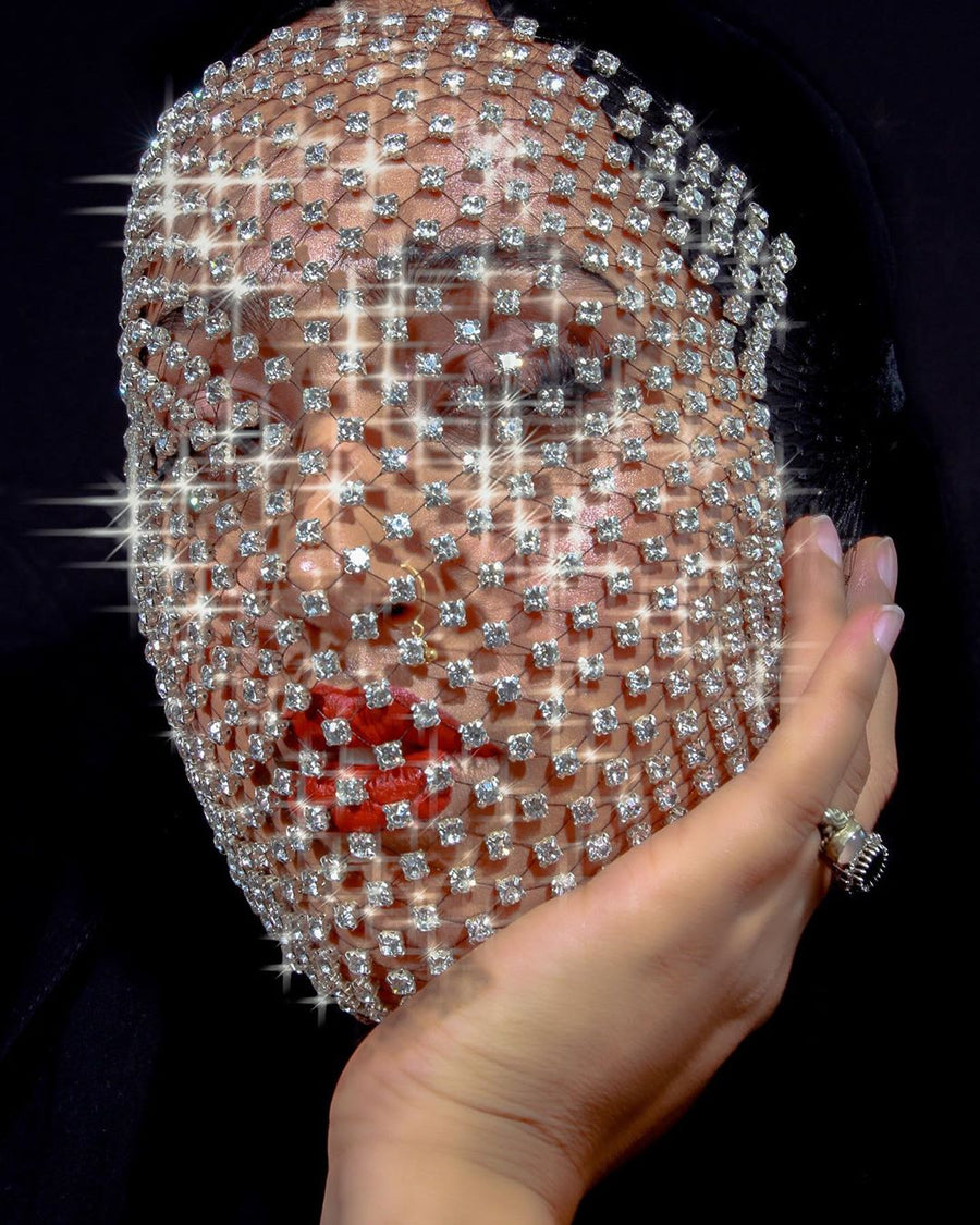Diamond Face Veil / Crystal