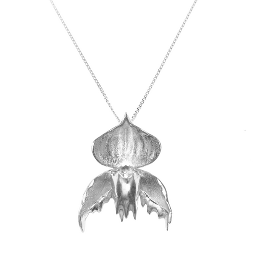 PRE RELEASE Melted Slipper Orchid - Silver Fine Chain
