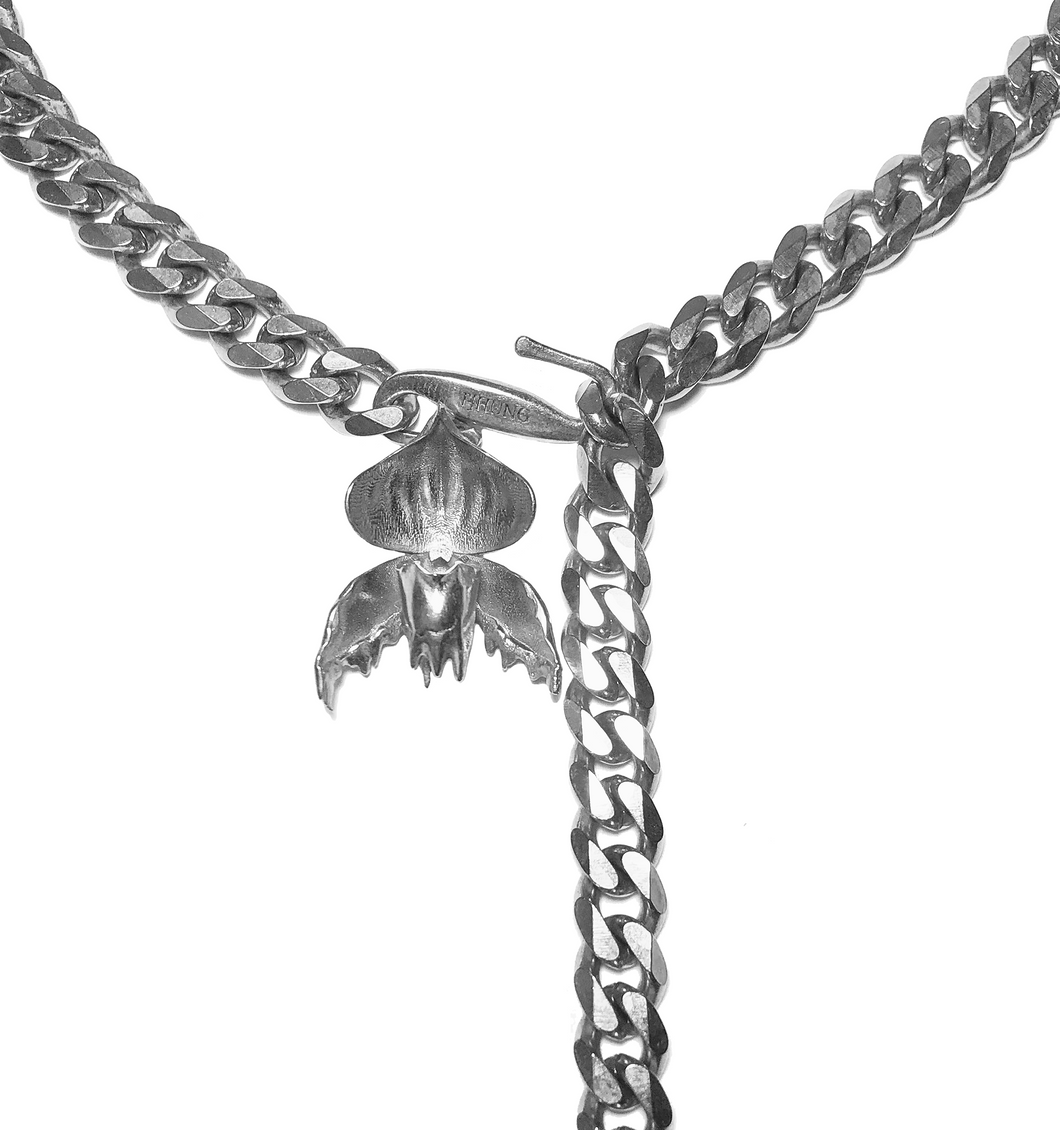 Melted Slipper Orchid - Gunmetal Curb Chain