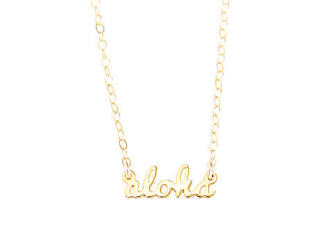 ALOHA SCRIPT NECKLACE