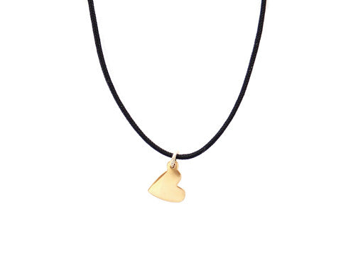 BLACK CORD -  HEART NECKLACE