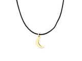BLACK CORD -  MOON NECKLACE