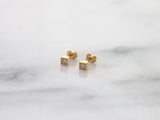 SMALL SQUARE WITH STONE STUD EARRINGS