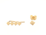SQUARE EAR CLIMBER AND STUD SET