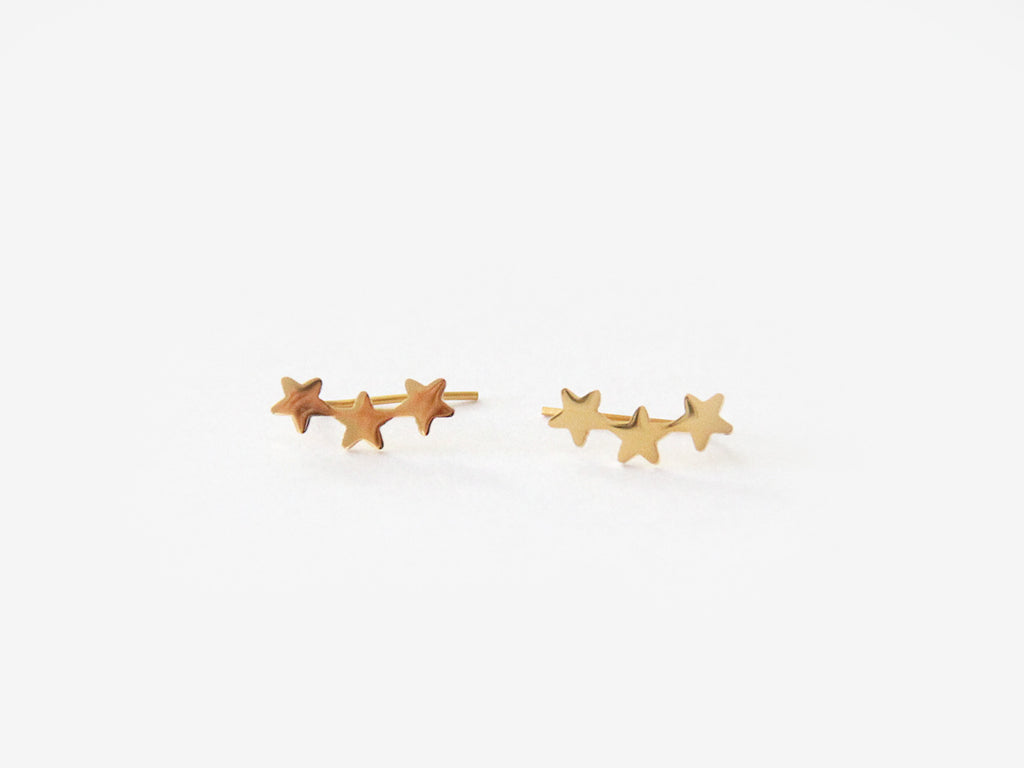 SALE - MAIVE - TRIPLE STAR EAR CLIMBERS