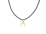 BLACK CORD -  WISHBONE NECKLACE