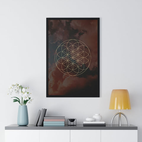 FLOWER OF LIFE CLOUD - Premium Framed Vertical Poster - Reality Hacker Co.