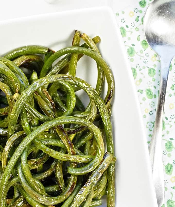 Grilled Garlic Scapes with Truffle Salt