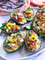 Plant-based Ceviche on Grilled Avocado Boats