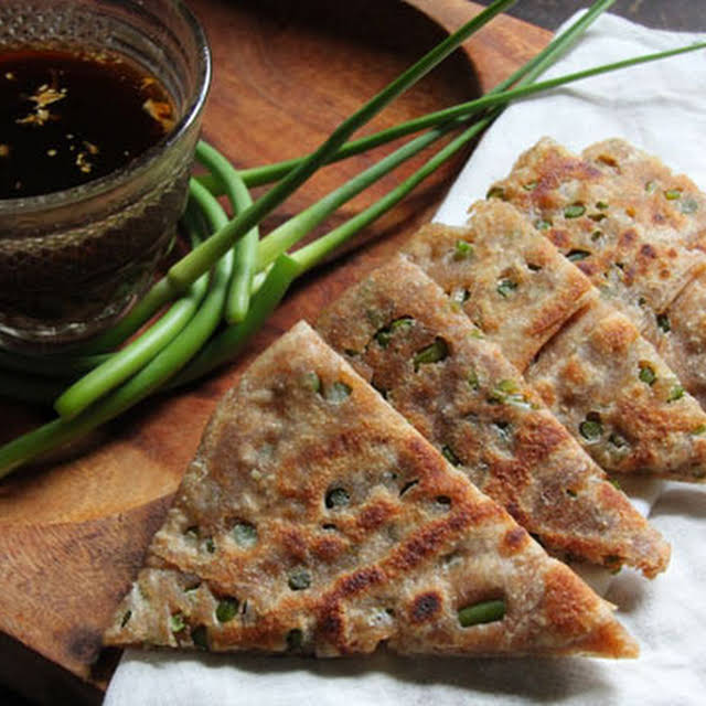 Chinese Scallion Garlic Scape Pancakes