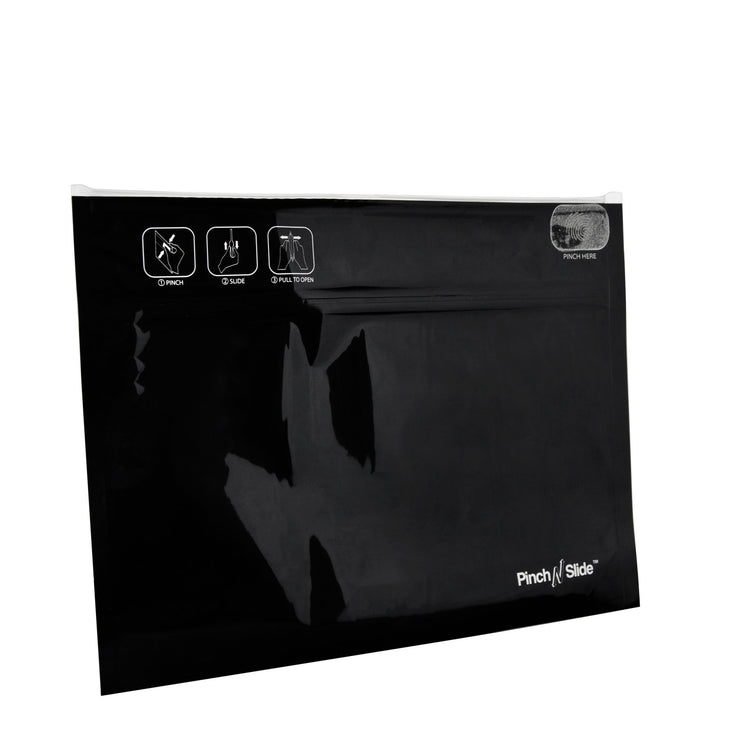 "Pinch N Slide Child Resistant Mylar Bags Black 12"" x 9"" 250 Count"