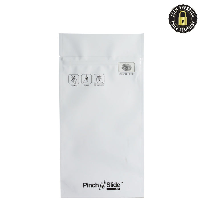 "Pinch N Slide 2.0 Child Resistant Mylar Bags White 5"" x 8.5"" 250 Count"