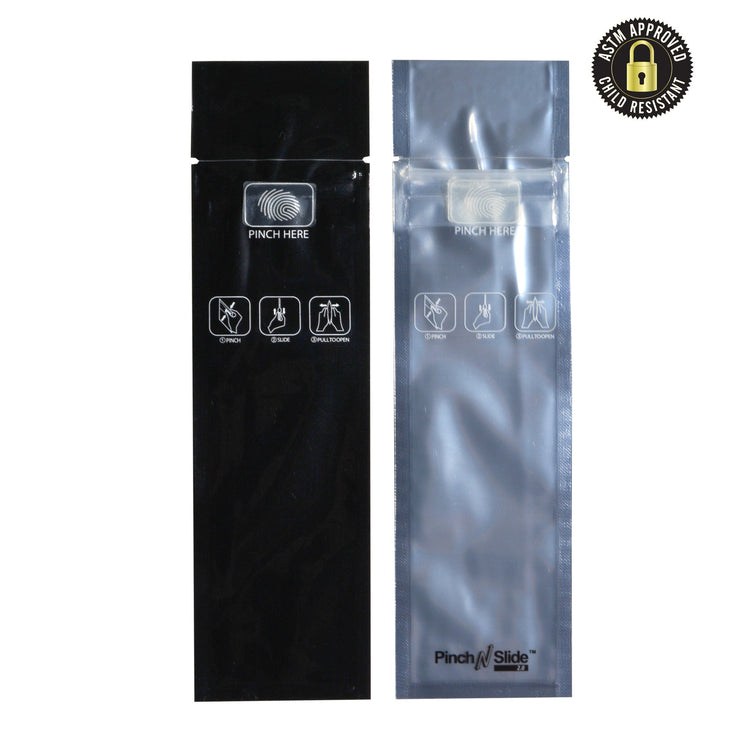 "Pinch N Slide 2.0 Child Resistant Mylar Bags Black Vista 2.4"" x 7.2"" 250 Count"