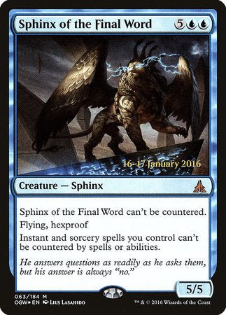 Sphinx of the Final Word [Oath of the Gatewatch Promos] | Darkhold Games