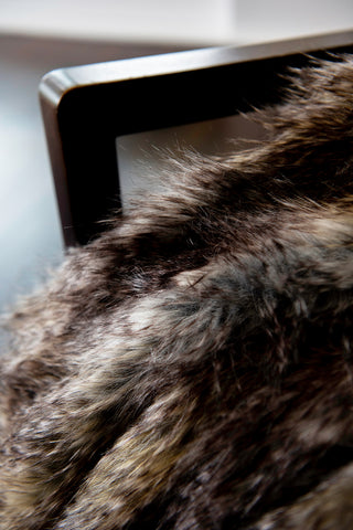 Luxury imitation fur throw, Golden Pheasant from Heirloom Furs with matching cushions. Fake Fur from My Sanctuary