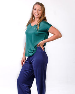 Silk Pyjamas NZ - full length silk pants and matching silk pyjama top. New Zealand silk sleepwear