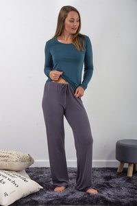 Bamboo loungewear  leisure pant bottoms - black or grey. NZ loungewear or sleepwear in soft bamboo viscose