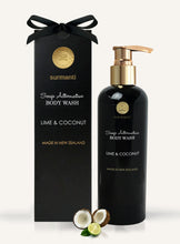 Load image into Gallery viewer, Luxury gift box, Surmanti Pamper box, Lime and Coconut body wash