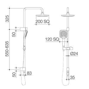 Caroma Luna overhead rail shower technical drawings and installation