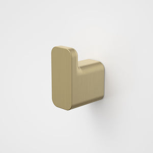 Caroma Luna Robe Hook in Brushed Brass, Caroma bathroom acceessories