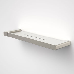 Caroma Luna metal bathroom shelf  in Brushed Nickel, Caroma bathroom acceessories