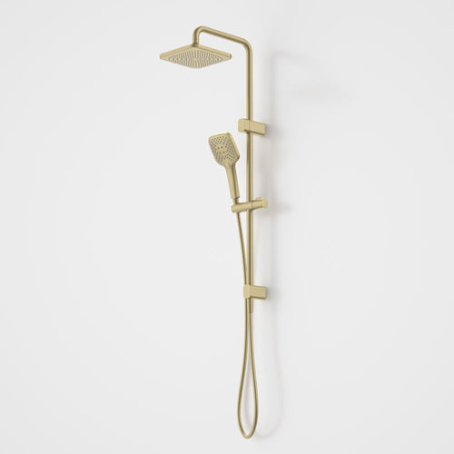 Caroma Luna Overhead Rail Shower in Gold, Brushed Brass
