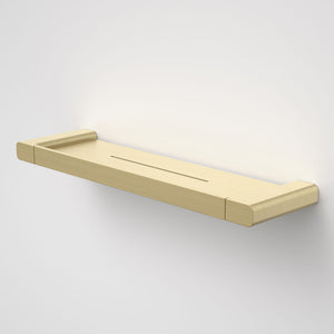 Caroma Luna metal bathroom shelf  in Brushed Brass, Caroma bathroom acceessories