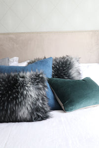 Luxury imitation fur cushion , Alaskan Wolf by Heirloom for New Zealand interiors