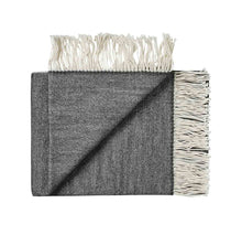 Load image into Gallery viewer, 100% wool fringe throw rug from Weave in Black for New Zealand interiors