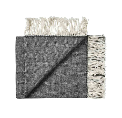 100% wool fringe throw rug from Weave in Black for New Zealand interiors