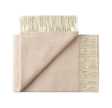 Load image into Gallery viewer, 100% wool fringe throw rug from Weave in Blush for New Zealand interiors