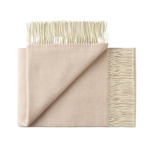 100% wool fringe throw rug from Weave in Blush for New Zealand interiors