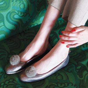Italian Leather Ballet Slippers in bronze with a pom pom, wool lining and rubber sole. Luxury slippers from My Sanctuary