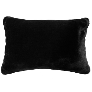 Luxury faux fur Black Panther cushion in black skin from Heirloom.  These are the best fake fur throws, super soft for NZ interior design