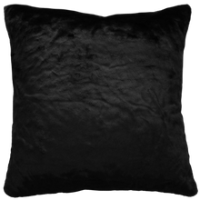 Load image into Gallery viewer, Luxury faux fur Black Panther cushion in black skin from Heirloom.  These are the best fake fur throws, super soft for NZ interior design
