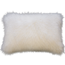 Load image into Gallery viewer, Luxury faux fur Norwegian Fox cushion in pure white from Heirloom. These are the best fake fur throws, super soft for NZ interior design