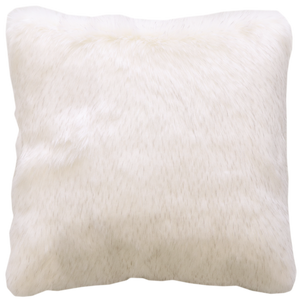 Luxury faux fur Norwegian Fox cushion in pure white from Heirloom. These are the best fake fur throws, super soft for NZ interior design