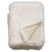 Load image into Gallery viewer, Luxury faux fur throw in pure white from Heirloom.  These are the best fake fur throws, super soft for NZ interior design