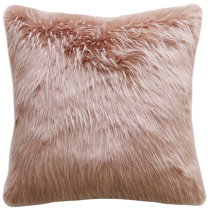Luxury Imitation Fur Cushion<br>Pink Peony Plume